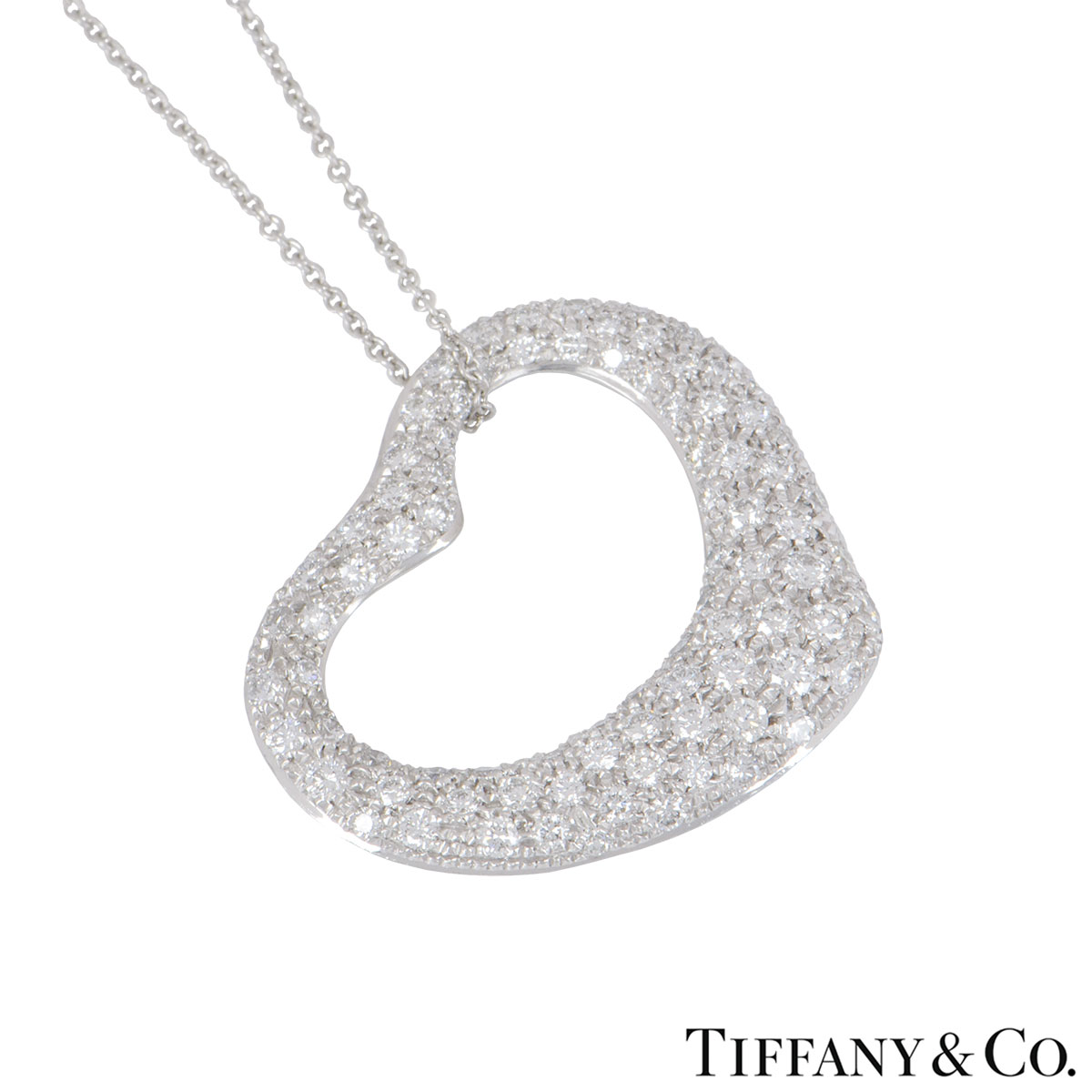 Tiffany & Co. Platinum Diamond Elsa Peretti Pendant